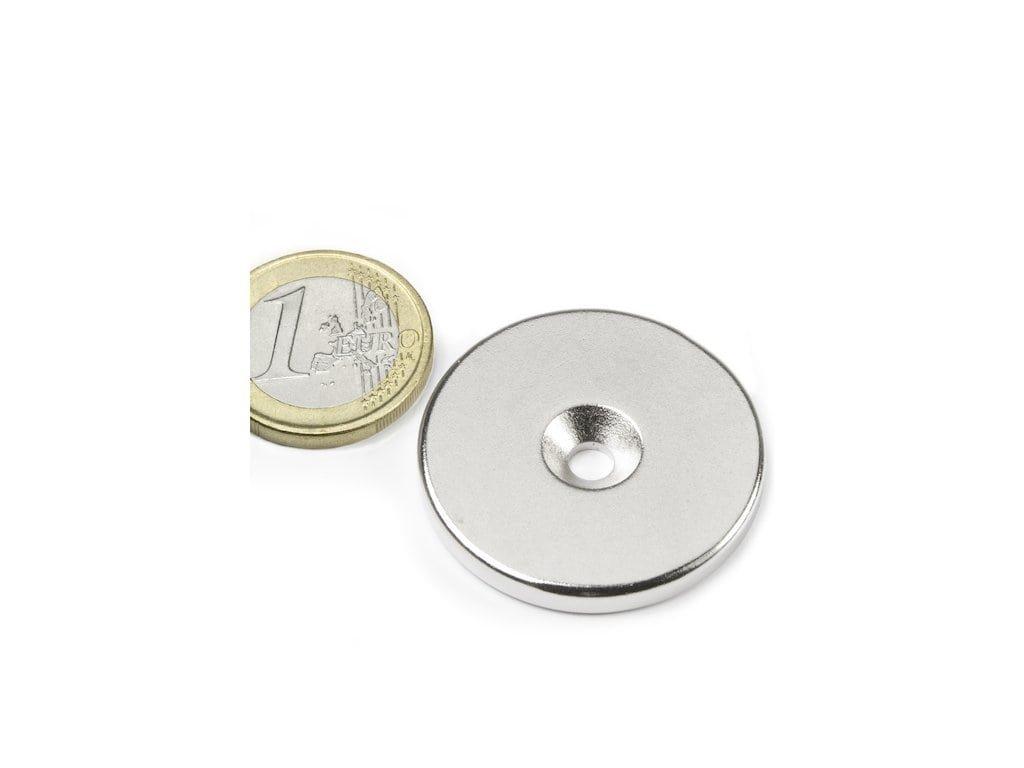 Neodymový magnet medzikružie D34/4.5 mm, H 4mm,s vrtaním a zahĺbením, N35,ponikelovaný