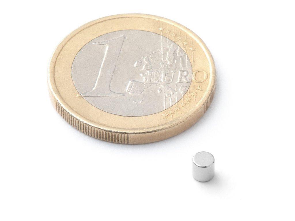 Neodymový magnet valec D3x3 mm, Neodym, N42, ponikelovaný