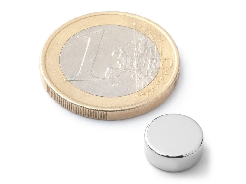 Neodymový magnet valec D10x4 mm, Neodym, N38, ponikelovaný