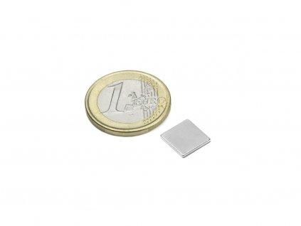 Neodymový magnet hranol 10x10x1mm, Neodym, N42, ponikelovaný