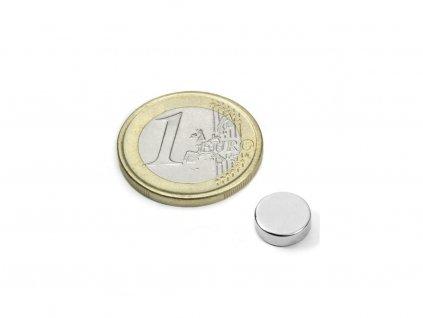 Neodymový magnet valec D9x3mm, Neodym, N52, ponikelovaný