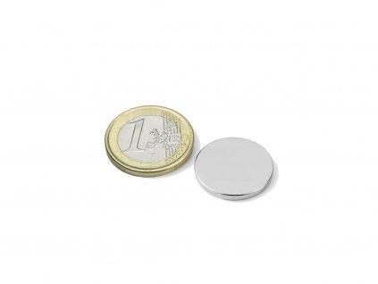 Neodymový magnet valec D20x2mm, Neodym, N52, ponikelovaný