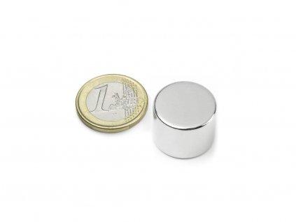 Neodymový magnet valec D20x15mm, Neodym, N42, ponikelovaný