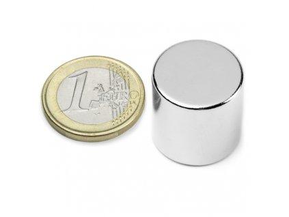 Neodymový magnet valec D20x20mm, Neodym, N42, ponikelovaný