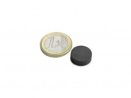 Feritový magnet valec D15x5mm, Ferit, Y35, bez povrchovej úpravy
