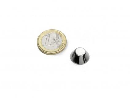 Neodymový magnet kónický D15/8mm, H6mm, Neodym, N42, ponikelovaný