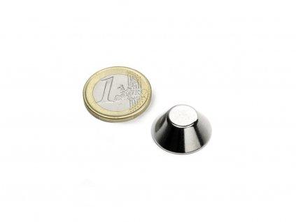 Neodymový magnet kónický D20/10mm, H8mm, Neodym, N38, ponikelovaný
