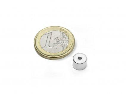 Neodymový magnet medzikružie D8/2mm, H6mm, Neodym, N50, ponikelovaný