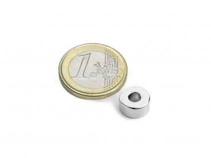 Neodymový magnet medzikružie D10/4mm, H5mm, Neodym, N42, ponikelovaný