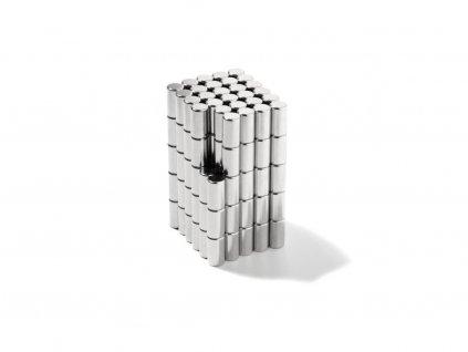 Neodymový magnet valec D4x7mm, Neodym, N45,ponikelovaný