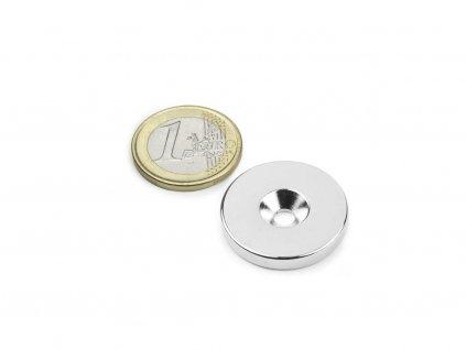 Neodymový magnet medzikružie D27/4.5 mm, H 4mm,s vrtaním a zahĺbením, N35,ponikelovaný