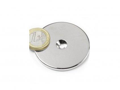 Neodymový magnet medzikružie D50/4.5 mm, H 4mm,s vrtaním a zahĺbením, N35,ponikelovaný