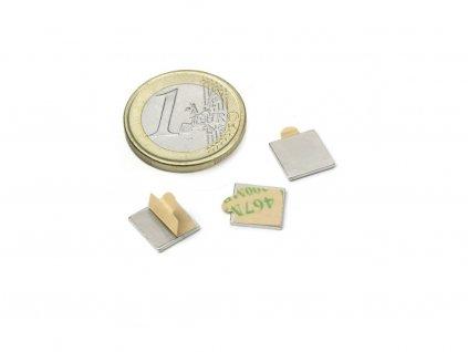 Neodymový magnet hranol (samolepiaca) 10x10x1mm, Neodym, N35,ponikelovaný