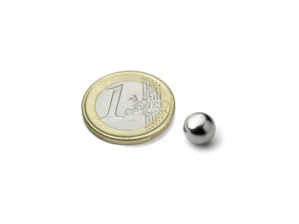 Neodymový magnet guľa D8mm, N38, pochromovaný