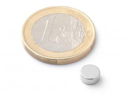 Neodymový magnet valec D6x2.5 mm, Neodym, N35H, ponikelovaný, diametrálne magnetizovaný