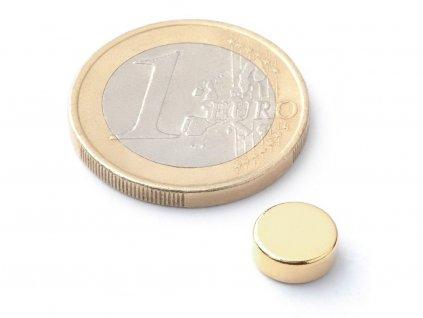 Neodymový magnet valec D8x3 mm, Neodym, N38, pozlátený