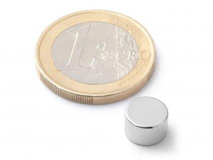Neodymový magnet valec D8x5 mm, Neodym, N42, ponikelovaný