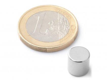 Neodymový magnet valec D8x8 mm, Neodym, N42, ponikelovaný