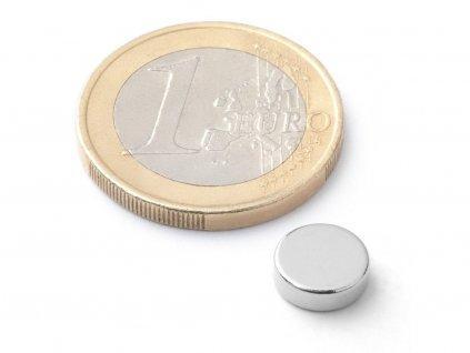 Neodymový magnet valec D8x2.5 mm, Neodym, N38, ponikelovaný
