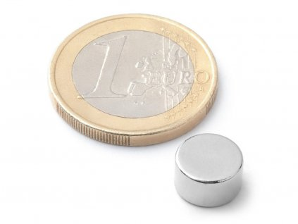 Neodymový magnet valec D9x5 mm, Neodym, N42, ponikelovaný