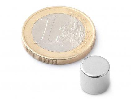Neodymový magnet valec D9x8 mm, Neodym, N42, ponikelovaný