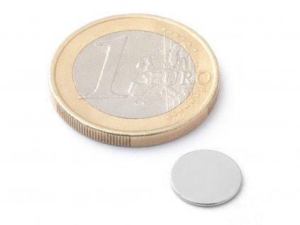 Neodymový magnet valec D10x0.6 mm, Neodym, N42, ponikelovaný