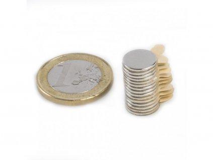 Neodymový magnet valec (samolepící) D10x1 mm, Neodym, N42, ponikelovaný