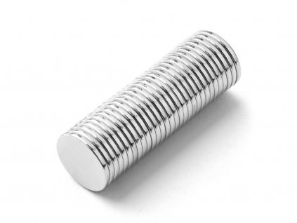 Neodymový magnet valec D10x1 mm, Neodym, N42, ponikelovaný