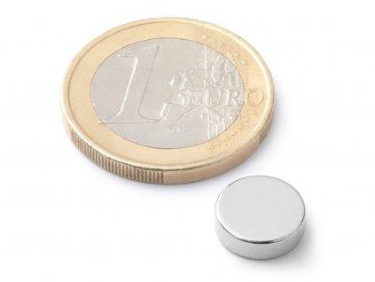 Neodymový magnet valec D10x3 mm, Neodym, N42, ponikelovaný