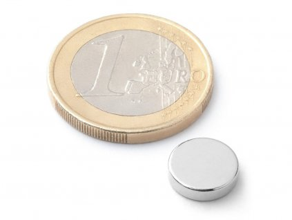 Neodymový magnet valec D10x2.5 mm, Neodym, N42, ponikelovaný