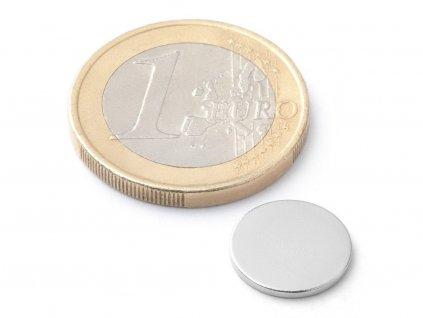 Neodymový magnet valec D12x1 mm, Neodym, N38, ponikelovaný
