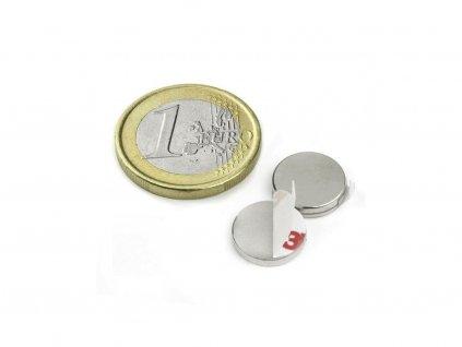Neodymový magnet valec (samolepící) D12x2 mm, Neodym, N40, ponikelovaný