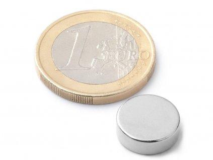 Neodymový magnet valec D12x4 mm, Neodym, N42, ponikelovaný