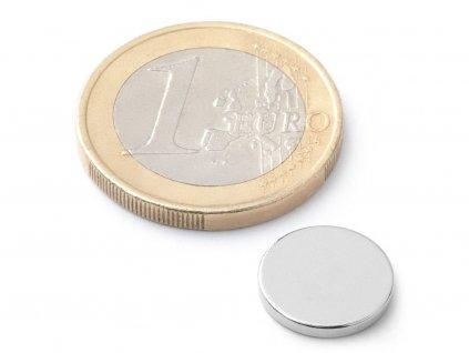 Neodymový magnet valec D12x1.5 mm, Neodym, N38, ponikelovaný