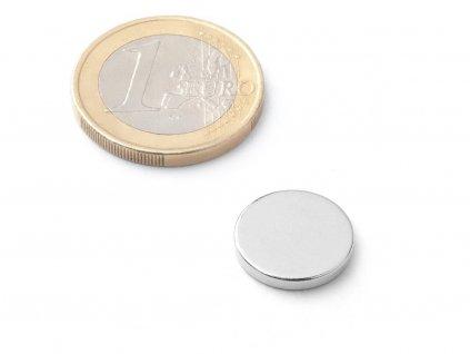 Neodymový magnet valec D14x2 mm, Neodym, N38, ponikelovaný