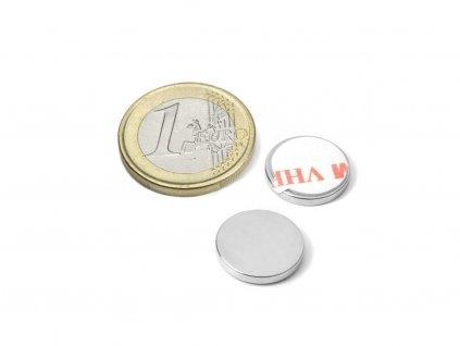 Neodymový magnet valec (samolepící) D15x2 mm, Neodym, N38, ponikelovaný