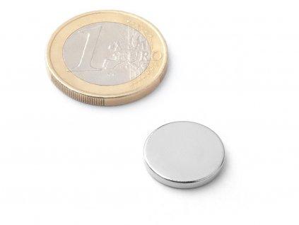Neodymový magnet valec D15x2 mm, Neodym, N38, ponikelovaný