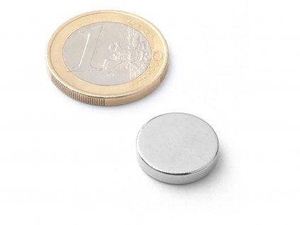 Neodymový magnet valec D15x3 mm, Neodym, N38, ponikelovaný