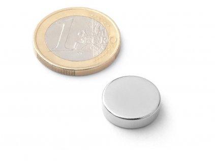 Neodymový magnet valec D15x4 mm, Neodym, N40, ponikelovaný