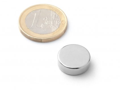 Neodymový magnet valec D15x5 mm, Neodym, N38, ponikelovaný