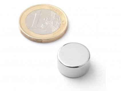 Neodymový magnet valec D15x8 mm, Neodym, N42, ponikelovaný