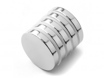 Neodymový magnet valec D18x3 mm, Neodym, N38, ponikelovaný