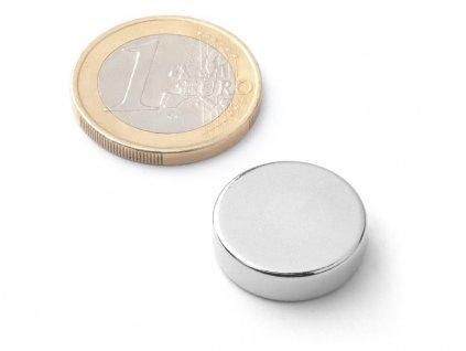 Neodymový magnet valec D18x5 mm, Neodym, N38, ponikelovaný