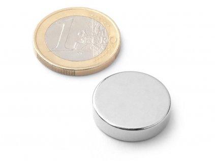 Neodymový magnet valec D20x5 mm, Neodym, N38, ponikelovaný