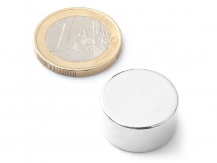 Neodymový magnet valec D20x10 mm, Neodym, N42, ponikelovaný