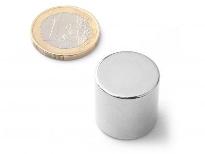 Neodymový magnet valec D20x20 mm, Neodym, N42, ponikelovaný