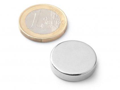 Neodymový magnet valec D21x5 mm, Neodym, N40, ponikelovaný