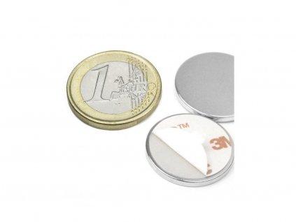 Neodymový magnet valec (samolepící) D22x2 mm, Neodym, N38, ponikelovaný