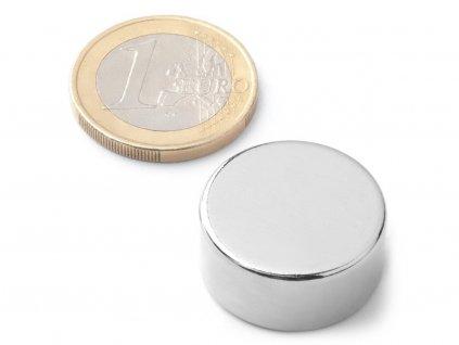 Neodymový magnet valec D22x10 mm, Neodym, N38, ponikelovaný