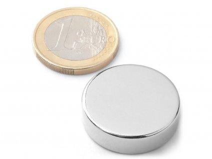 Neodymový magnet valec D25x7 mm, Neodym, N42, ponikelovaný